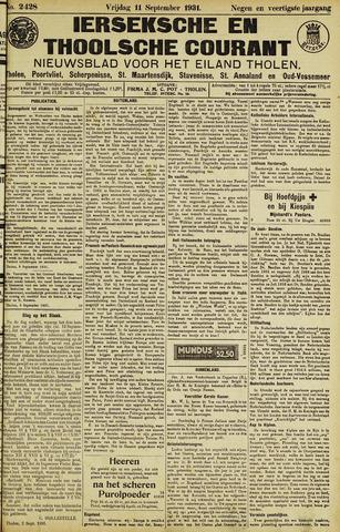 Ierseksche en Thoolsche Courant 1931-09-11