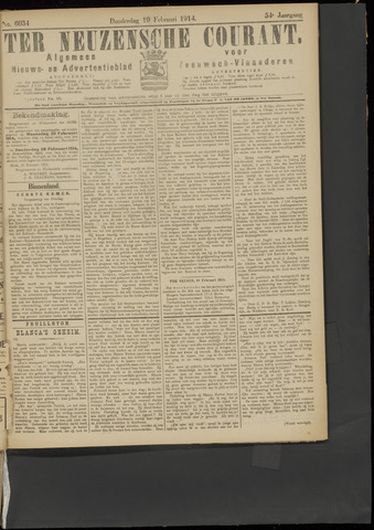 Ter Neuzensche Courant. Algemeen Nieuws- en Advertentieblad voor Zeeuwsch-Vlaanderen / Neuzensche Courant ... (idem) / (Algemeen) nieuws en advertentieblad voor Zeeuwsch-Vlaanderen 1914-02-19