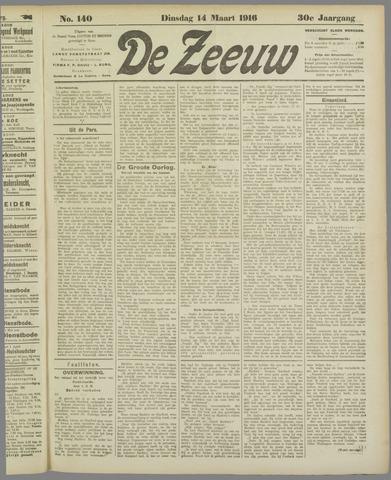 De Zeeuw. Christelijk-historisch nieuwsblad voor Zeeland 1916-03-14