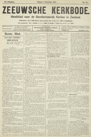 Zeeuwsche kerkbode, weekblad gewijd aan de belangen der gereformeerde kerken/ Zeeuwsch kerkblad 1927-11-11