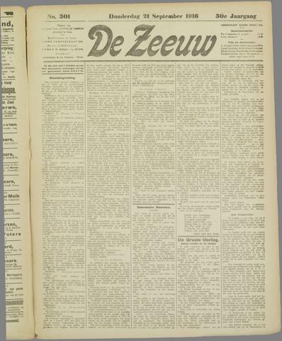 De Zeeuw. Christelijk-historisch nieuwsblad voor Zeeland 1916-09-21