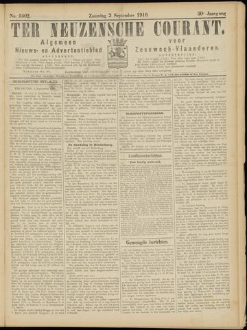 Ter Neuzensche Courant. Algemeen Nieuws- en Advertentieblad voor Zeeuwsch-Vlaanderen / Neuzensche Courant ... (idem) / (Algemeen) nieuws en advertentieblad voor Zeeuwsch-Vlaanderen 1910-09-03