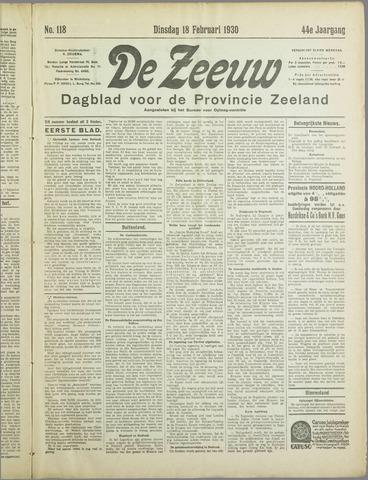 De Zeeuw. Christelijk-historisch nieuwsblad voor Zeeland 1930-02-18