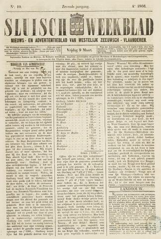 Sluisch Weekblad. Nieuws- en advertentieblad voor Westelijk Zeeuwsch-Vlaanderen 1866-03-09