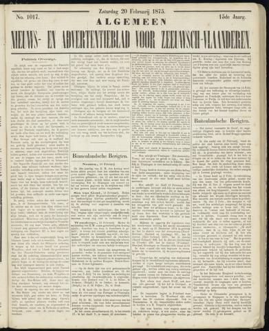 Ter Neuzensche Courant. Algemeen Nieuws- en Advertentieblad voor Zeeuwsch-Vlaanderen / Neuzensche Courant ... (idem) / (Algemeen) nieuws en advertentieblad voor Zeeuwsch-Vlaanderen 1875-02-20