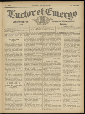 Luctor et Emergo. Antirevolutionair nieuws- en advertentieblad voor Zeeland / Zeeuwsch-Vlaanderen. Orgaan ter verspreiding van de christelijke beginselen in Zeeuwsch-Vlaanderen 1913-01-29