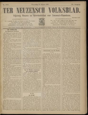Ter Neuzensch Volksblad. Vrijzinnig nieuws- en advertentieblad voor Zeeuwsch- Vlaanderen / Zeeuwsch Nieuwsblad. Nieuws- en advertentieblad voor Zeeland 1917-01-31