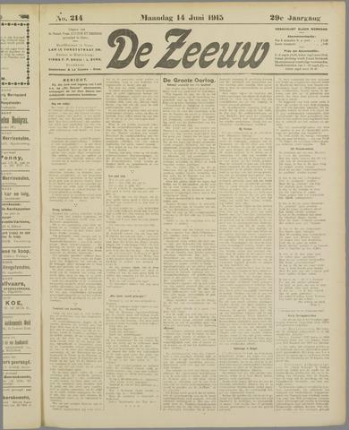 De Zeeuw. Christelijk-historisch nieuwsblad voor Zeeland 1915-06-14