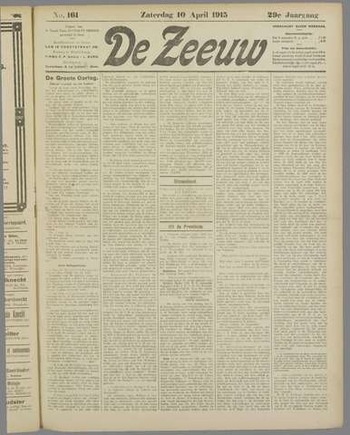 De Zeeuw. Christelijk-historisch nieuwsblad voor Zeeland 1915-04-10