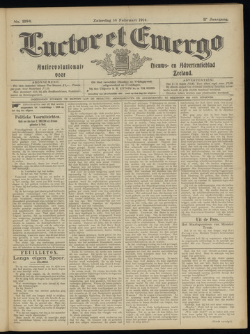 Luctor et Emergo. Antirevolutionair nieuws- en advertentieblad voor Zeeland / Zeeuwsch-Vlaanderen. Orgaan ter verspreiding van de christelijke beginselen in Zeeuwsch-Vlaanderen 1914-02-14