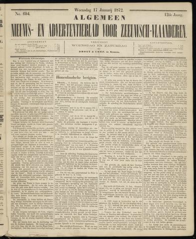Ter Neuzensche Courant. Algemeen Nieuws- en Advertentieblad voor Zeeuwsch-Vlaanderen / Neuzensche Courant ... (idem) / (Algemeen) nieuws en advertentieblad voor Zeeuwsch-Vlaanderen 1872-01-17