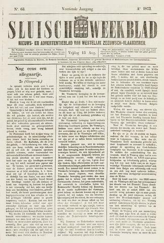 Sluisch Weekblad. Nieuws- en advertentieblad voor Westelijk Zeeuwsch-Vlaanderen 1873-08-15
