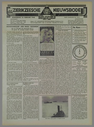 Zierikzeesche Nieuwsbode 1940-02-22