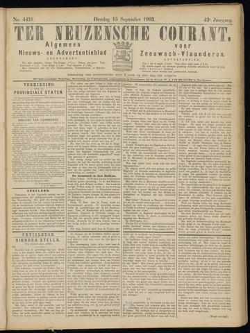 Ter Neuzensche Courant. Algemeen Nieuws- en Advertentieblad voor Zeeuwsch-Vlaanderen / Neuzensche Courant ... (idem) / (Algemeen) nieuws en advertentieblad voor Zeeuwsch-Vlaanderen 1903-09-15