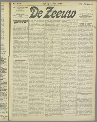 De Zeeuw. Christelijk-historisch nieuwsblad voor Zeeland 1920-07-02