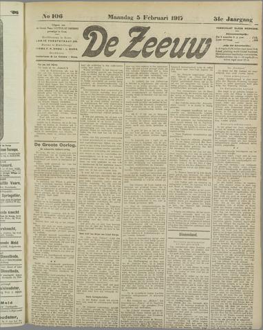 De Zeeuw. Christelijk-historisch nieuwsblad voor Zeeland 1917-02-05
