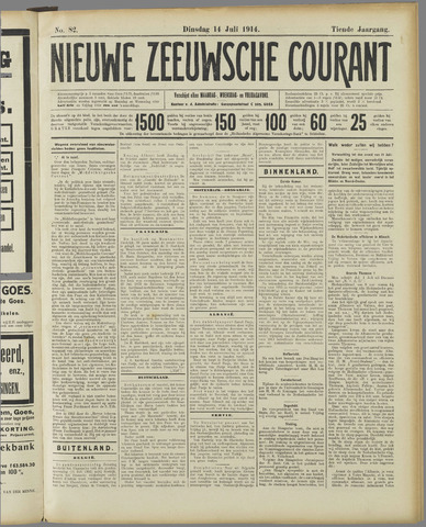 Nieuwe Zeeuwsche Courant 1914-07-14