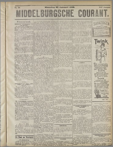 Middelburgsche Courant 1922-01-30