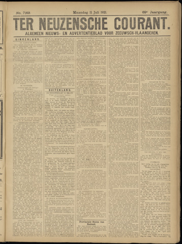 Ter Neuzensche Courant. Algemeen Nieuws- en Advertentieblad voor Zeeuwsch-Vlaanderen / Neuzensche Courant ... (idem) / (Algemeen) nieuws en advertentieblad voor Zeeuwsch-Vlaanderen 1921-07-11