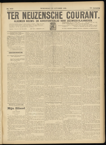 Ter Neuzensche Courant. Algemeen Nieuws- en Advertentieblad voor Zeeuwsch-Vlaanderen / Neuzensche Courant ... (idem) / (Algemeen) nieuws en advertentieblad voor Zeeuwsch-Vlaanderen 1933-10-25