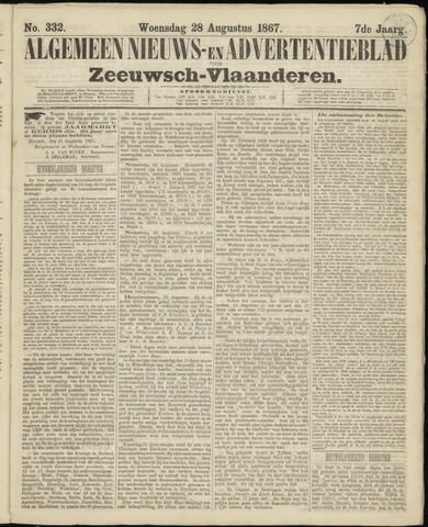 Ter Neuzensche Courant. Algemeen Nieuws- en Advertentieblad voor Zeeuwsch-Vlaanderen / Neuzensche Courant ... (idem) / (Algemeen) nieuws en advertentieblad voor Zeeuwsch-Vlaanderen 1867-08-28