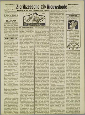 Zierikzeesche Nieuwsbode 1924-07-09