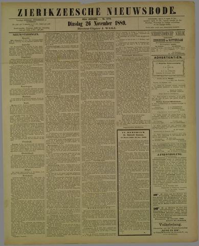 Zierikzeesche Nieuwsbode 1889-11-26