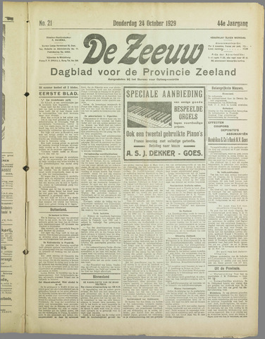 De Zeeuw. Christelijk-historisch nieuwsblad voor Zeeland 1929-10-24