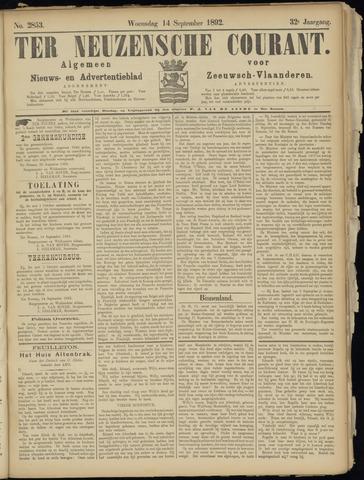 Ter Neuzensche Courant. Algemeen Nieuws- en Advertentieblad voor Zeeuwsch-Vlaanderen / Neuzensche Courant ... (idem) / (Algemeen) nieuws en advertentieblad voor Zeeuwsch-Vlaanderen 1892-09-14