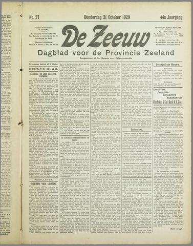 De Zeeuw. Christelijk-historisch nieuwsblad voor Zeeland 1929-10-31