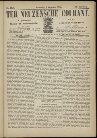 Ter Neuzensche Courant. Algemeen Nieuws- en Advertentieblad voor Zeeuwsch-Vlaanderen / Neuzensche Courant ... (idem) / (Algemeen) nieuws en advertentieblad voor Zeeuwsch-Vlaanderen 1882-08-09