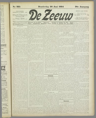 De Zeeuw. Christelijk-historisch nieuwsblad voor Zeeland 1924-06-26