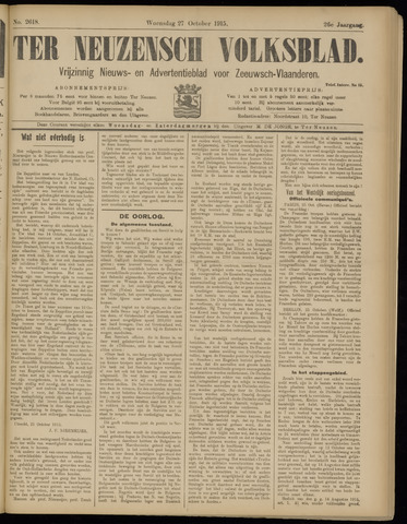 Ter Neuzensch Volksblad. Vrijzinnig nieuws- en advertentieblad voor Zeeuwsch- Vlaanderen / Zeeuwsch Nieuwsblad. Nieuws- en advertentieblad voor Zeeland 1915-10-27