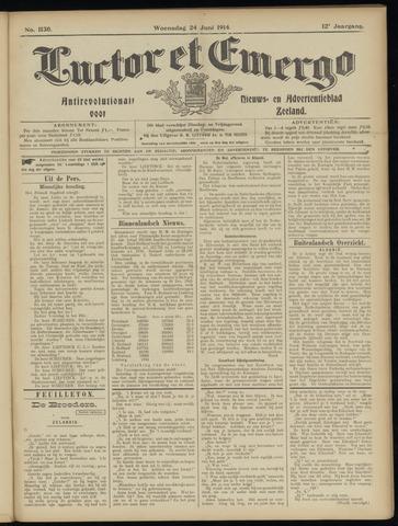 Luctor et Emergo. Antirevolutionair nieuws- en advertentieblad voor Zeeland / Zeeuwsch-Vlaanderen. Orgaan ter verspreiding van de christelijke beginselen in Zeeuwsch-Vlaanderen 1914-06-24