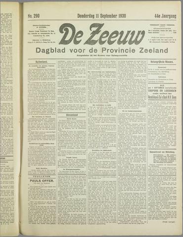 De Zeeuw. Christelijk-historisch nieuwsblad voor Zeeland 1930-09-11