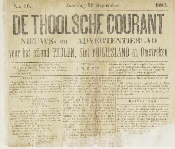 Ierseksche en Thoolsche Courant 1884-09-27