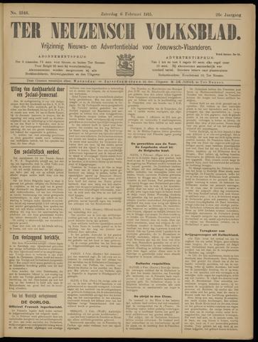Ter Neuzensch Volksblad. Vrijzinnig nieuws- en advertentieblad voor Zeeuwsch- Vlaanderen / Zeeuwsch Nieuwsblad. Nieuws- en advertentieblad voor Zeeland 1915-02-06