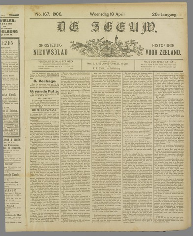 De Zeeuw. Christelijk-historisch nieuwsblad voor Zeeland 1906-04-18