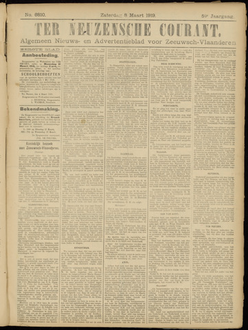 Ter Neuzensche Courant. Algemeen Nieuws- en Advertentieblad voor Zeeuwsch-Vlaanderen / Neuzensche Courant ... (idem) / (Algemeen) nieuws en advertentieblad voor Zeeuwsch-Vlaanderen 1919-03-08