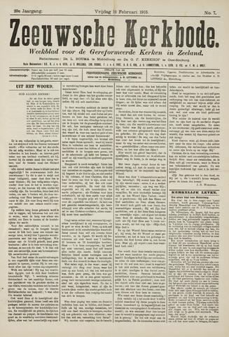 Zeeuwsche kerkbode, weekblad gewijd aan de belangen der gereformeerde kerken/ Zeeuwsch kerkblad 1915-02-12