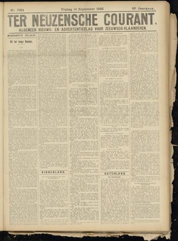 Ter Neuzensche Courant. Algemeen Nieuws- en Advertentieblad voor Zeeuwsch-Vlaanderen / Neuzensche Courant ... (idem) / (Algemeen) nieuws en advertentieblad voor Zeeuwsch-Vlaanderen 1923-09-14