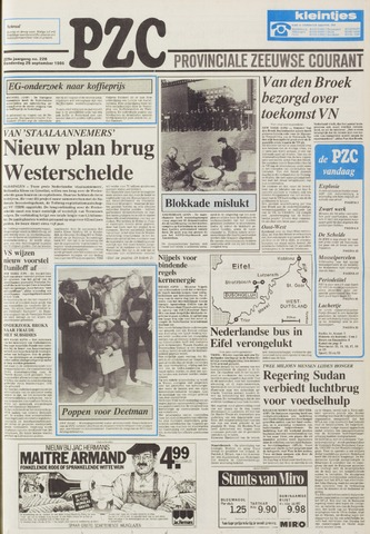 Provinciale Zeeuwse Courant 1986-09-25