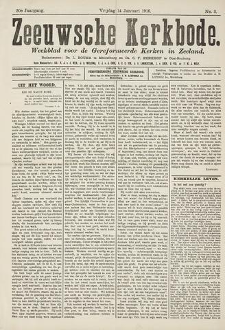 Zeeuwsche kerkbode, weekblad gewijd aan de belangen der gereformeerde kerken/ Zeeuwsch kerkblad 1916-01-14