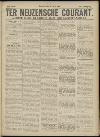 Ter Neuzensche Courant. Algemeen Nieuws- en Advertentieblad voor Zeeuwsch-Vlaanderen / Neuzensche Courant ... (idem) / (Algemeen) nieuws en advertentieblad voor Zeeuwsch-Vlaanderen 1920-05-27