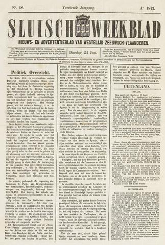 Sluisch Weekblad. Nieuws- en advertentieblad voor Westelijk Zeeuwsch-Vlaanderen 1873-06-24