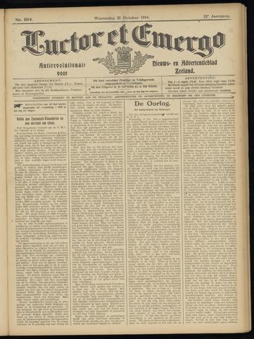 Luctor et Emergo. Antirevolutionair nieuws- en advertentieblad voor Zeeland / Zeeuwsch-Vlaanderen. Orgaan ter verspreiding van de christelijke beginselen in Zeeuwsch-Vlaanderen 1914-10-21