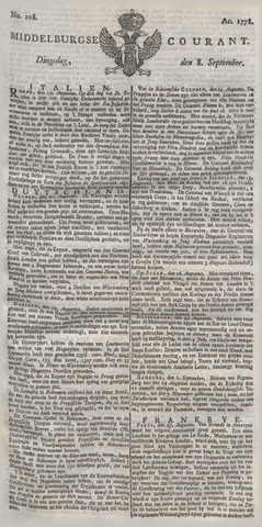 Middelburgsche Courant 1778-09-08