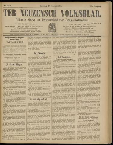 Ter Neuzensch Volksblad. Vrijzinnig nieuws- en advertentieblad voor Zeeuwsch- Vlaanderen / Zeeuwsch Nieuwsblad. Nieuws- en advertentieblad voor Zeeland 1916-02-19