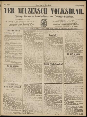 Ter Neuzensch Volksblad. Vrijzinnig nieuws- en advertentieblad voor Zeeuwsch- Vlaanderen / Zeeuwsch Nieuwsblad. Nieuws- en advertentieblad voor Zeeland 1911-07-22