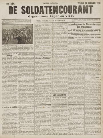 De Soldatencourant. Orgaan voor Leger en Vloot 1916-02-18